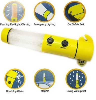 Emergency Flashlight with Hammer and beacon